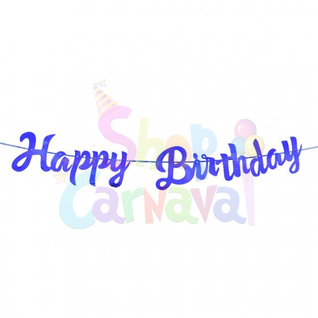 Banner Happy Birthday Albastru