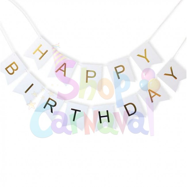 Banner Happy Birthday Alb cu Auriu