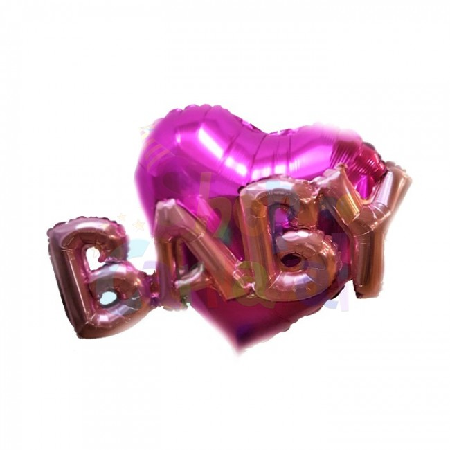 Set balon folie inima 80 cm si balon folie litere BABY