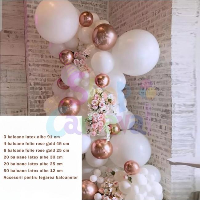 Set aniversar baloane latex alb/rose gold
