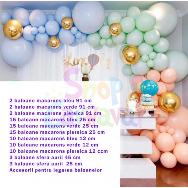 Set aniversar baloane latex macarons multicolor