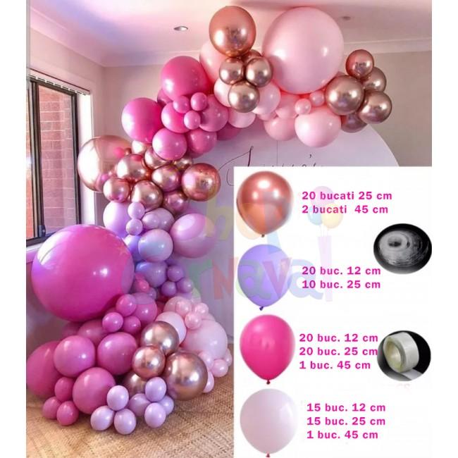 Set aniversar baloane latex macarons roz/rose gold