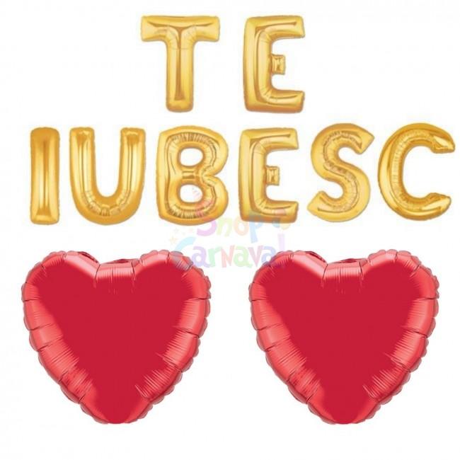 Set Baloane Te Iubesc, Auriu, 41 cm