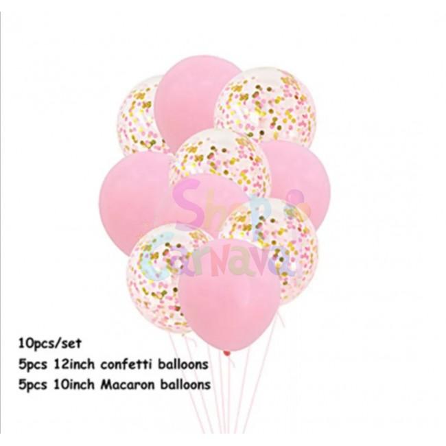 Baloane latex, macarons cu confetti, 10 bucati